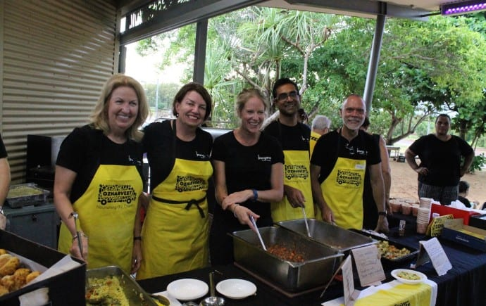 Bangarra-Board-of-Directors-serve-Bangarra-OzHarvest-meal-Yirrkala-Photo-by-Ashwin-Rathod-690x435