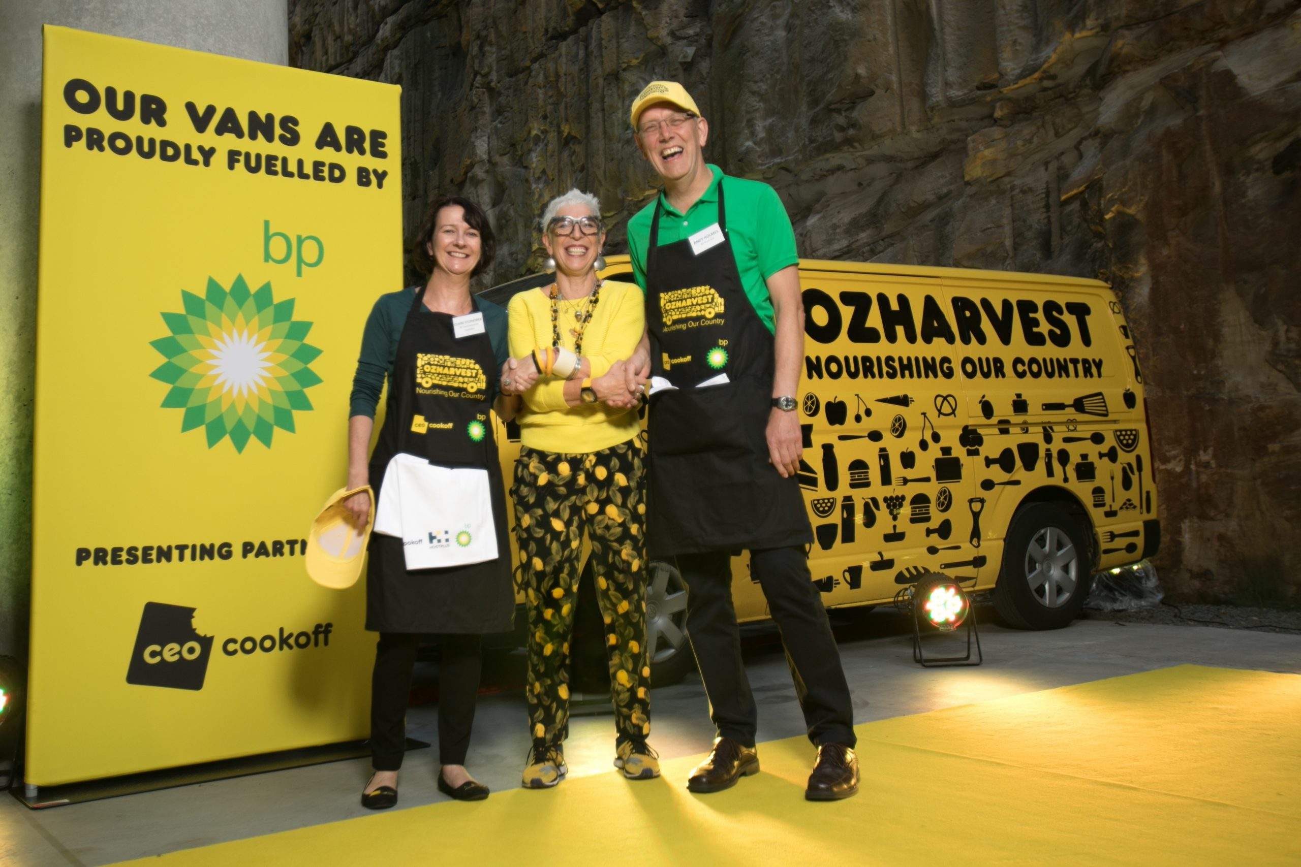 BP and OzHarvest announcing our corporate partnership. Ronni shaking hands with BP staff members