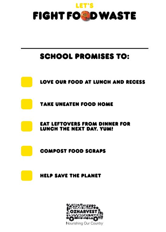 Let's fight food waste school pledge