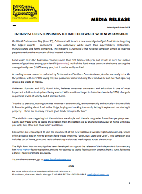 Media Release_New Campaign to Fight Food Waste