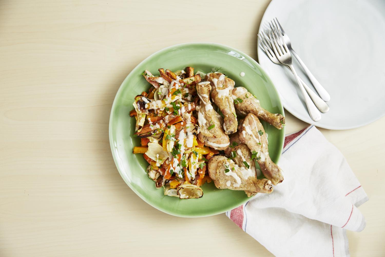 Roast Veg with Chicken & Tahini Sauce